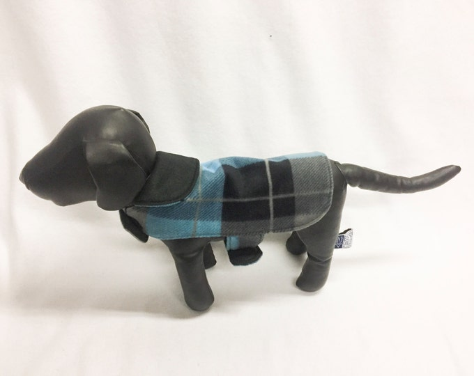 Black/Blue/Grey Plaid Dog Coat 1030