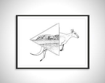 Lucky Bay/Kangaroo Print - Art Print - Hand Drawn Illustration