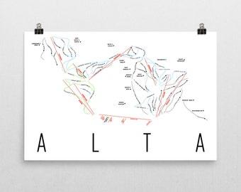 Alta Ski Map Art, Alta Utah, Ski Utah, Alta Trail Map, Alta Ski Resort, Ski House, Ski House Decor, Ski Chair, Ski Lift, Ski Lodge Decor