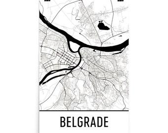 Belgrade Map, Belgrade Art, Belgrade Print, Belgrade Serbia Poster, Belgrade Wall Art, Map of Belgrade, Belgrade Gift, Belgrade Decor, Map