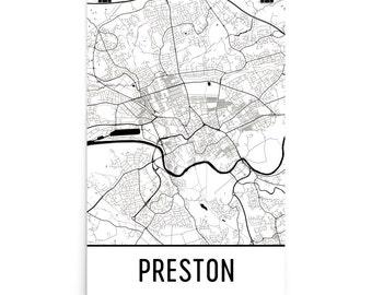 Preston Map, Preston Art, Preston Print, Preston UK Poster, Preston Wall Art, Map of Preston, Preston Gift, Preston Decor, Preston Map Art