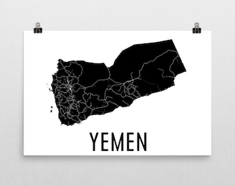 Yemen Map, Map of Yemen, Yemenite Art, Yemen Poster, Yemen Wall Art, Yemen Poster, Yemen Gifts, Yemen Decor, Yemenite, Yemen Map Art Print
