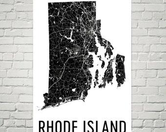 Rhode Island Map, Rhode Island Art, Rhode Island Print, Rhode Island Wall Art, Rhode Island Sign, Gifts, Decor, Poster, Map of Rhode Island