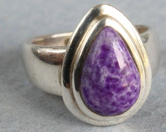 Charoite Ring Sterling Silver Teardrop Purlple Stone Ring