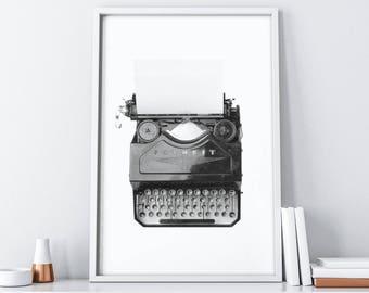Typewriter Print   Minimalist Black and White  Nordic Printable Art  Home Decor  Scandinavian Print  Extra Large Wall Art  Tumblr Room Decor