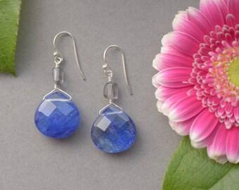 Blueberry Quartz & Iolite Drop Earrings