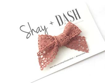 Dusty Rose Cotton Lace Bow