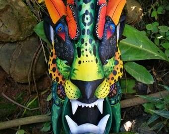 Jaguar mask, mask of Jaguar, Boruca mask, traditional mask from Costa Rica, ceremonial mask, handmade, wooden mask