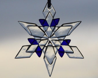 """3.5"""" fused glass snowflake adds a bit of flash to any window or tree"""