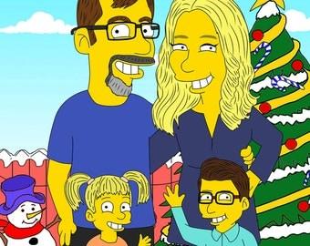 Family Portrait, Family Caricature, Family Drawing, Custom Portrait, Custom Caricature, Couple Caricature, Simpsons Custom, Couple Portrait