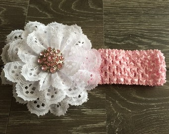 WHITE EYELET HAIRBOW, Pink Hair Bow, Hairbows, New Born Photo Prop, Pink Flower Headband, Baby Girl Headband, Baby Bows, Baby Headband,