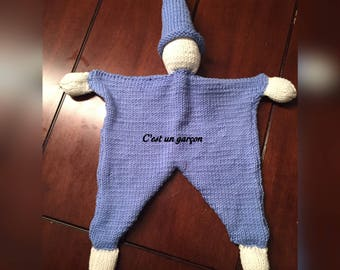 Lutin elf protecter hand made in merino yarn baby security blanket doll