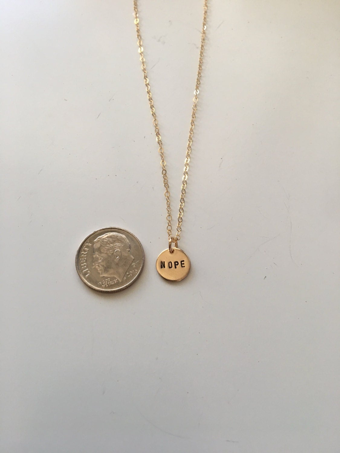 Nope charm necklace Gold fill or Sterling