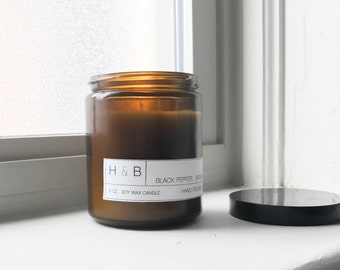 Soy Candle / No. 05 / Birchwood. Cedar. Black Pepper.  /  8 oz Soy Wax Candle / Hand Poured / Scented Soy Wax / Amber Jar /