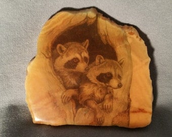 Beverly Ann Creations Racoons in a Tree Hole