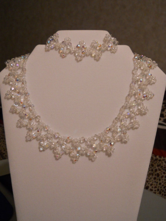 Swarovski Crystal Necklace and Bracelet w/ Silver Plated Clasp