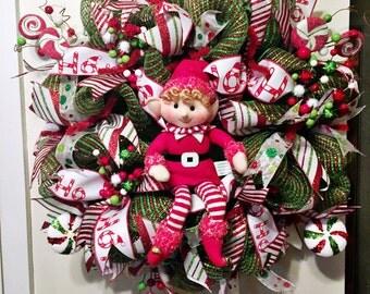 Elf Wreath/ Christmas Door Wreath/ Deco Mesh Wreath/ Front Door Wreath/ Mesh Christmas Wreath/ Door Wreath