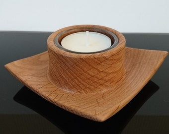 Winged Oak Woodturned Tealight Holder