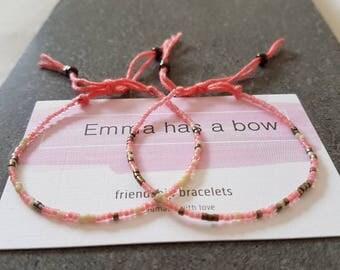 """Set Morse code """"SIS"""" Freundschaftsbändchen in pink"""
