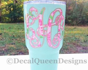 Personalized 30 oz. Powder Coated Double Wall Stainless Tumbler / Colored YETI / Monogrammed Cup