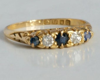 Antique 18 ct gold ring with sapphires and diamonds from 1915/antique gold 18 CT ring sapphires and diamonds 1915