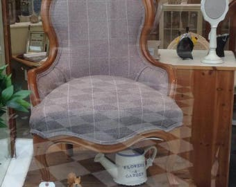 wood framed small armchair in grey check wool fabric
