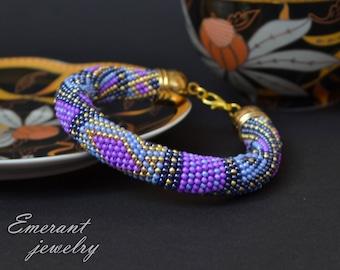 Ethnic boho Purple bracelet Blue Seed bead bracelet Crochet bracelet Tender Dainty bracelet Unique Women gift idea gift-for-her Summer party