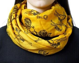 Infinity scarf, graphic tube scarf, horse print scarf, snood, loop scarf, mustard scarf, women's tube scarf, ladies scarf,