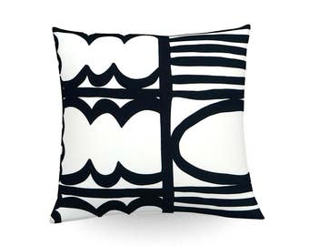 Decorative pillow, cushion cover, graphic, cushion, throw pillow, black and white, home accessories, home decoration, monochrome pillow