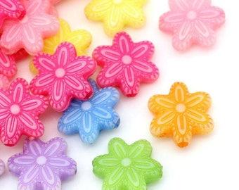 30 pc Mixed Flower Acrylic Beads 12x11mm