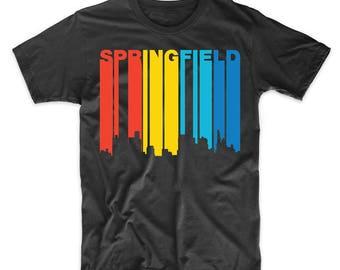 Retro 1970's Style Springfield Illinois Skyline T-Shirt