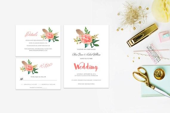 Floral wedding invite word_55,INSTANT DOWNLOAD, Editable Wedding template invitation. Microsoft Word template.Wedding Printable