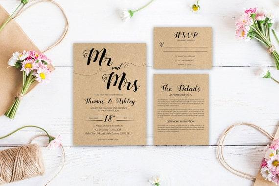 Craft wedding invite_2,Printable Wedding Invitation Suite,Wedding Invite Set,Wedding Printable,Calligraphy