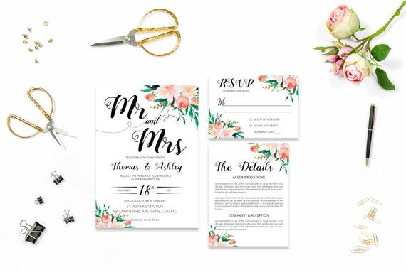 Flower wedding invite_20,Printable Wedding Invitation Suite,Wedding Invite Set,Wedding Printable,Calligraphy