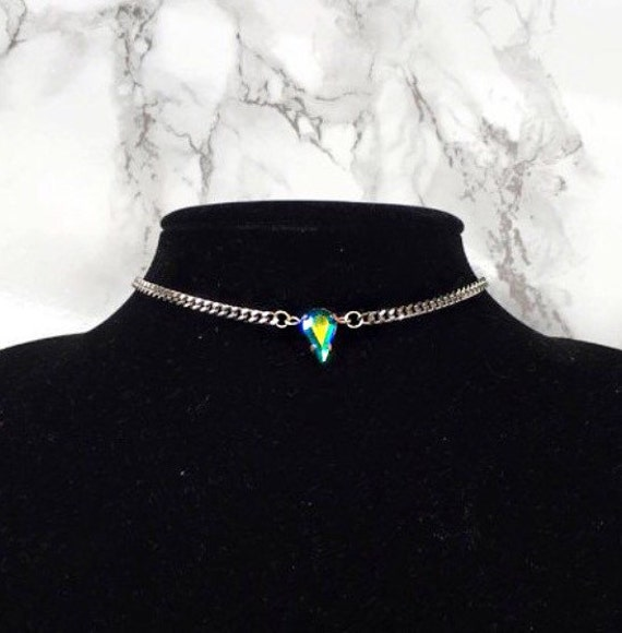 Crystal Teardrop Chain Choker