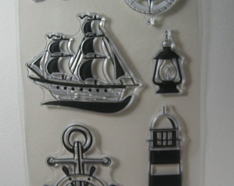 Ship Anchor Lighthouse Compass Lantern Clear Stamp Set