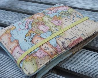 Travel organizer, Travel wallet, Passport holder, Holder for 2 passports, Passport cover, passport wallet, Gift for Traveler - world map