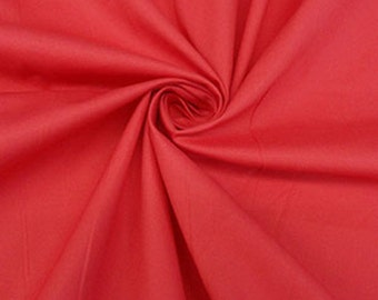 Apple Red Stretch Cotton Shirting Fabric - Maggy London - 49W
