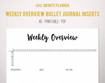 Weekly Overview A5, half-hour increments - Bullet Journal Printable PDF