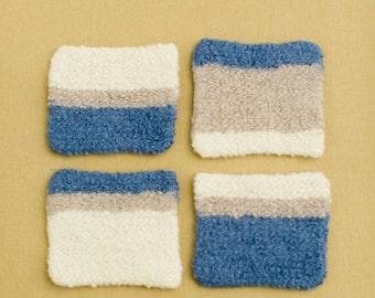 4 - Blue, Oatmeal & Ivory Felted Coaster Set
