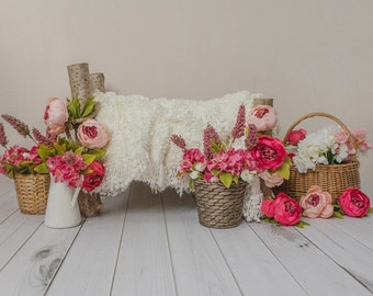 Newborn Digital Backdrop Wooden Bed and flowers. Instant download jpg file