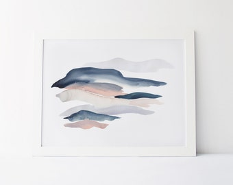 Watercolor Painting, Modern Watercolor Fine Art Giclée Print, Abstract Landscape, Indigo, Blush and Grey