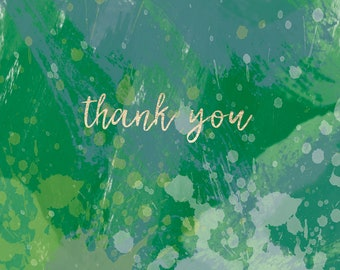 Oil Paint Design Thank You Cards - Green and Pink Versions - Digital File