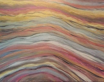 """Original abstract painting, home decor, earth tones """"Metal Waves"""""""