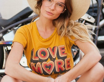 Love more tee, Positive graphic tee, Vintage Tee, Peace,Retro love, graphic tee womens, Vintage style, Love peace, love shirt,