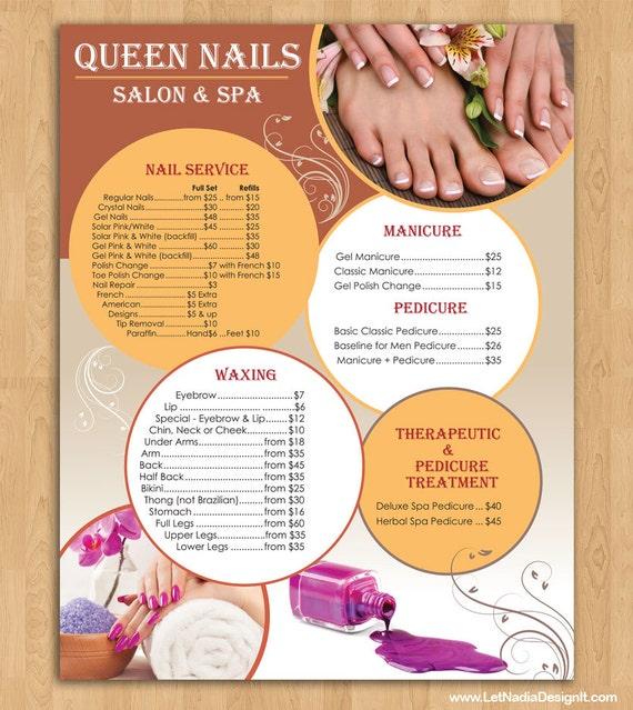 Price List For Nail Salon PRINTING