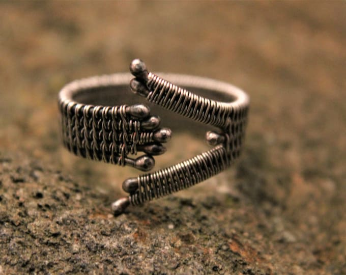 Adjustable Fine and Sterling Silver Patina Wire Weave Ring Adjustable Size 9.5 to 13 ; Wire Weaved Jewelry, Statement Ring Mens or Ladies