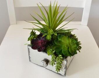 Succulents in a Vintage-Style Wooden Drawer, Faux Succulents, Farmhouse Centerpiece, Greenery Arrangement, Succulent Garden, Table Decor