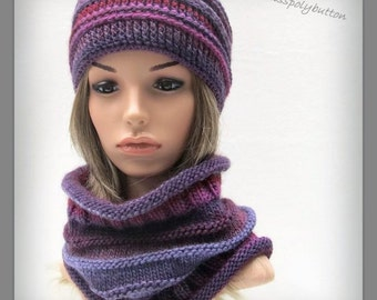 Purple knit cowl - winter cowl - warm knitted scarf - infinity loop - wool scarf in shades of purple - gift for her
