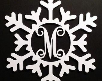 Winter Snowflake Door Wall Hanging Monogram Personalized Letter